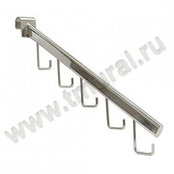 00010582 - ТР66 Кронштейн на планку, наклонный с крючками, хром