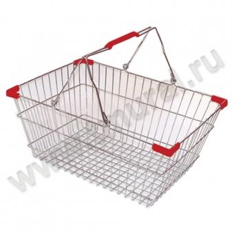 00011250 - Корзина покупательская хром, 22 литра, 2 красных ручки