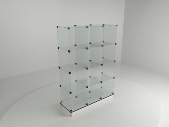 10 - Витрина стеклянная (12 ячеек) 1260*450*1750 бел/черн