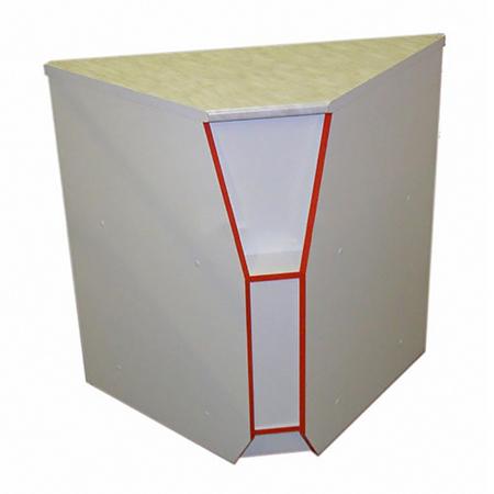 16000 - ПУВс Прилавок угловой внутренний ПОСТФОРМИНГ 550 белый/красный