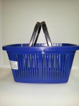 20131114 115107 - ЖРВИ ЕВРО Корзина покупательская пластик (30 л, синяя, 2 черных ручки)